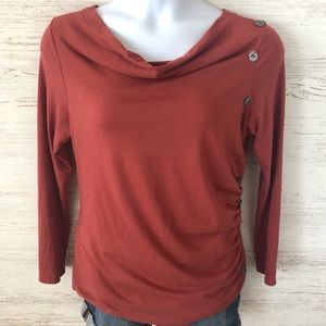 SOFT SURROUNDINGS Cowl Neck Ruched Long Sleeve tee